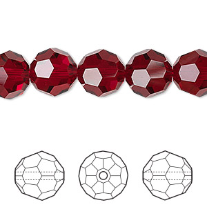 bead, swarovski crystals, siam, 10mm faceted round (5000). sold per pkg of 144 (1 gross).