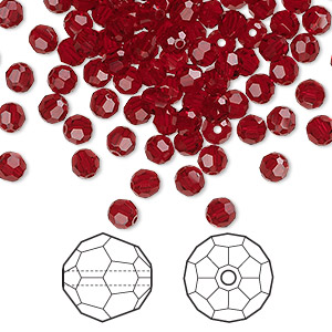 bead, swarovski crystals, siam, 4mm faceted round (5000). sold per pkg of 720 (5 gross).
