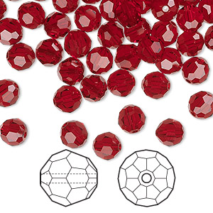 bead, swarovski crystals, siam, 6mm faceted round (5000). sold per pkg of 360.