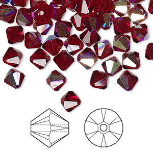 bead, swarovski crystals, siam ab, 6mm faceted bicone (5301). sold per pkg of 360.