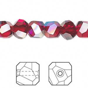 bead, swarovski crystals, siam ab, 8x8mm faceted graphic cube (5603). sold per pkg of 6.
