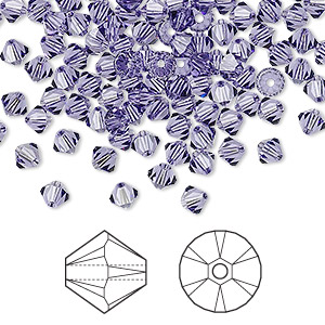 bead, swarovski crystals, tanzanite, 4mm xilion bicone (5328). sold per pkg of 48.