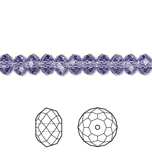 bead, swarovski crystals, tanzanite, 6x4mm faceted rondelle (5040). sold per pkg of 12.