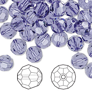bead, swarovski crystals, tanzanite, 8mm faceted round (5000). sold per pkg of 288 (2 gross).