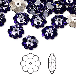 bead, swarovski crystals, tanzanite, foil back, 10x3.5mm faceted marguerite lochrose flower (3700). sold per pkg of 12.