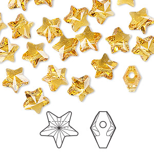 bead, swarovski crystals, topaz, 8x8mm faceted star (5714). sold per pkg of 288 (2 gross).