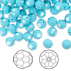 bead, swarovski crystals, turquoise, 6mm faceted round (5000). sold per pkg of 360.