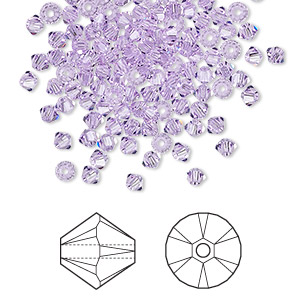 bead, swarovski crystals, violet, 3mm xilion bicone (5328). sold per pkg of 1,440 (10 gross).