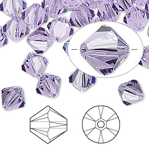 bead, swarovski crystals, violet, 8mm xilion bicone (5328). sold per pkg of 12.