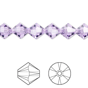 bead, swarovski crystals, violet, 8mm xilion bicone (5328). sold per pkg of 72.
