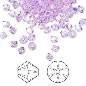 bead, swarovski crystals, violet ab, 4mm xilion bicone (5328). sold per pkg of 144 (1 gross).