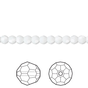 bead, swarovski crystals, white alabaster, 4mm faceted round (5000). sold per pkg of 720 (5 gross).