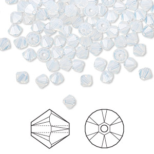 bead, swarovski crystals, white opal, 4mm xilion bicone (5328). sold per pkg of 1,440 (10 gross).