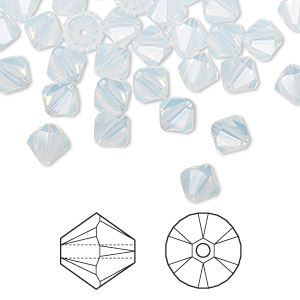 bead, swarovski crystals, white opal, 6mm xilion bicone (5328). sold per pkg of 360.