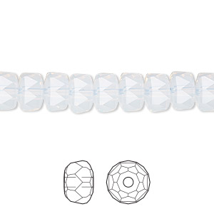 bead, swarovski crystals, white opal, 8x5mm faceted rondelle (5045). sold per pkg of 216.