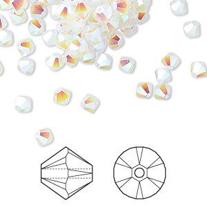 bead, swarovski crystals, white opal ab2x, 4mm xilion bicone (5328). sold per pkg of 1,440 (10 gross).