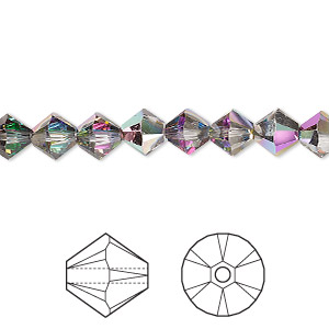 bead, swarovski crystals with third-party coating, crystal passions, crystal electra, 6mm xilion bicone (5328). sold per pkg of 144 (1 gross).