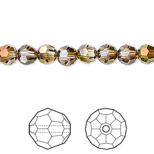 bead, swarovski crystals with third-party coating, crystal passions, crystal mahogany, 6mm faceted round (5000). sold per pkg of 12.