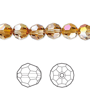 bead, swarovski crystals with third-party coating, crystal passions, crystal mahogany, 8mm faceted round (5000). sold per pkg of 144 (1 gross).