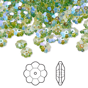 bead, swarovski crystals with third-party coating, peridot glacier blue, 6x2mm faceted marguerite lochrose flower (3700). sold per pkg of 720 (5 gross).
