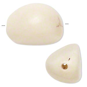 bead, tagua nut (natural), large nugget. sold per pkg of 2.