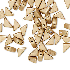 bead, tango™, czech pressed glass, opaque matte gold, 8x6x6mm triangle with (2) 0.7-0.8mm holes. sold per 10-gram pkg, approximately 65 beads.
