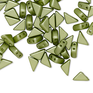 bead, tango™, czech pressed glass, opaque pastel olivine, 8x6x6mm triangle with (2) 0.7-0.8mm holes. sold per 10-gram pkg, approximately 65 beads.