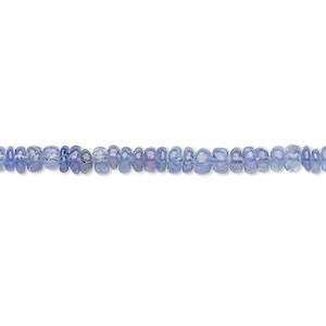 bead, tanzanite (heated), 3x1mm-4x3mm hand-cut rondelle, b grade, mohs hardness 6 to 7. sold per 12-inch strand.