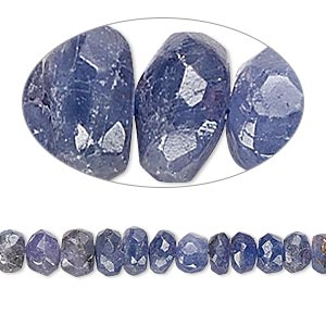bead, tanzanite (heated), 4x3mm-7x5mm graduated hand-cut faceted rondelle, c grade, mohs hardness 6 to 7. sold per 16-inch strand.