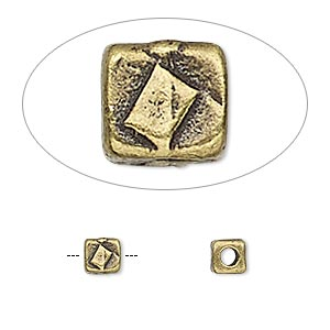 bead, tierracast, antique brass-plated pewter (tin-based alloy), 5x5mm textured cube with 2mm hole. sold per pkg of 4.