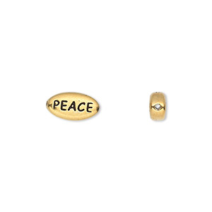 bead, tierracast, antique gold-plated pewter (tin-based alloy), 11x6mm double-sided flat oval with peace. sold per pkg of 2.