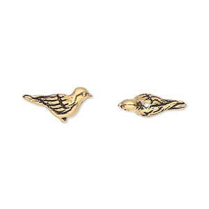 bead, tierracast, antique gold-plated pewter (tin-based alloy), 14.5x7mm 3d paloma bird. sold per pkg of 2.