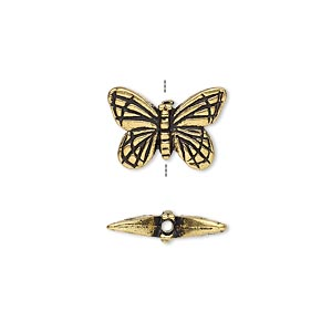bead, tierracast, antique gold-plated pewter (tin-based alloy), 16x11mm double-sided butterfly. sold per pkg of 2.