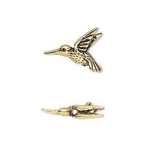 bead, tierracast, antique gold-plated pewter (tin-based alloy), 19x14mm 3d hummingbird. sold per pkg of 2.