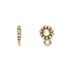 bead, tierracast, antique gold-plated pewter (tin-based alloy), 9x2mm beaded rondelle with loop, 2.5mm hole. sold per pkg of 2.