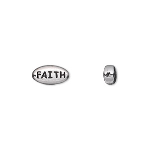 bead, tierracast, antique rhodium-plated pewter (tin-based alloy), 11x6mm double-sided flat oval with faith. sold per pkg of 2.