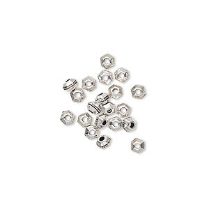 bead, tierracast, antique silver-plated pewter (tin-based alloy), 3x2mm faceted hexagon rondelle with beaded center. sold per pkg of 20.