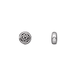 bead, tierracast, antique silver-plated pewter (tin-based alloy), 7mm double-sided flat round with celtic knot. sold per pkg of 2.
