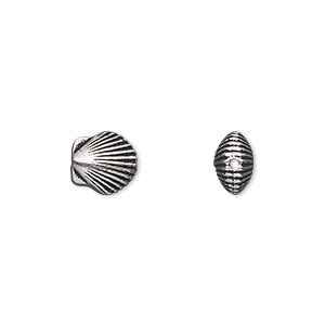 bead, tierracast, antique silver-plated pewter (tin-based alloy), 9x8.5mm double-sided shell. sold per pkg of 2.