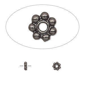 bead, tierracast, black-plated pewter (tin-based alloy), 4x1.5mm beaded rondelle with 0.7mm hole. sold per pkg of 20.