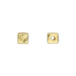 bead, tierracast, gold-plated pewter (tin-based alloy), 6x6mm textured cube with 2mm hole. sold per pkg of 2.