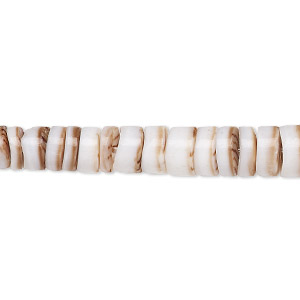 bead, tiger conus shell (natural), 4-8mm graduated hand-cut heishi with 0.6mm hole, mohs hardness 3-1/2. sold per 16-inch strand.