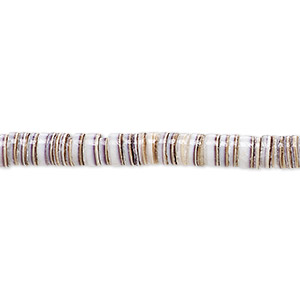 bead, tiger cowrie shell (natural), 4-5mm hand-cut heishi, mohs hardness 3-1/2. sold per 24-inch strand.