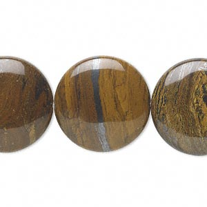 bead, tiger iron (natural), 20mm flat round, b grade, mohs hardness 7. sold per 16-inch strand.
