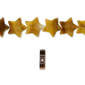 bead, tigereye (natural), 10x10mm flat star, b grade, mohs hardness 7. sold per 16-inch strand.