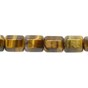 bead, tigereye (natural), 10x7mm faceted tube, b grade, mohs hardness 7. sold per 16-inch strand.