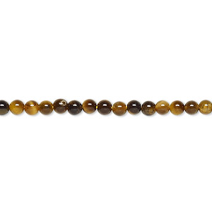 bead, tigereye (natural), 3mm round, b grade, mohs hardness 7. sold per 16-inch strand.