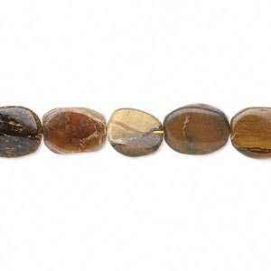 bead, tigereye (natural), 8x7mm-15x9mm hand-cut flat oval, d- grade, mohs hardness 7. sold per 13-inch strand.