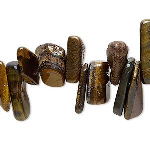 bead, tigereye (natural), extra-large top-drilled chip, mohs hardness 7. sold per 15-inch strand.