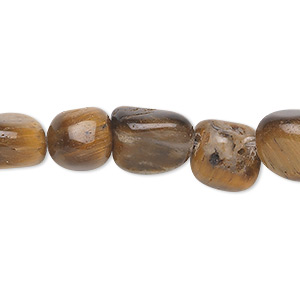 bead, tigereye (natural), large pebble, mohs hardness 7. sold per 16-inch strand.